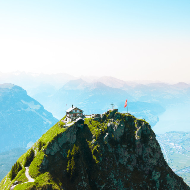 """Mountain Hut Aerial"" stock image"