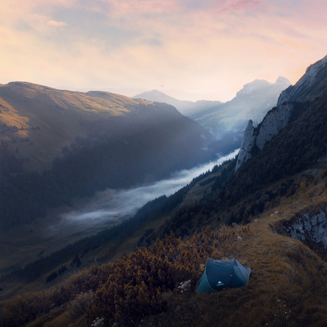 """Camping in Alpstein"" stock image"