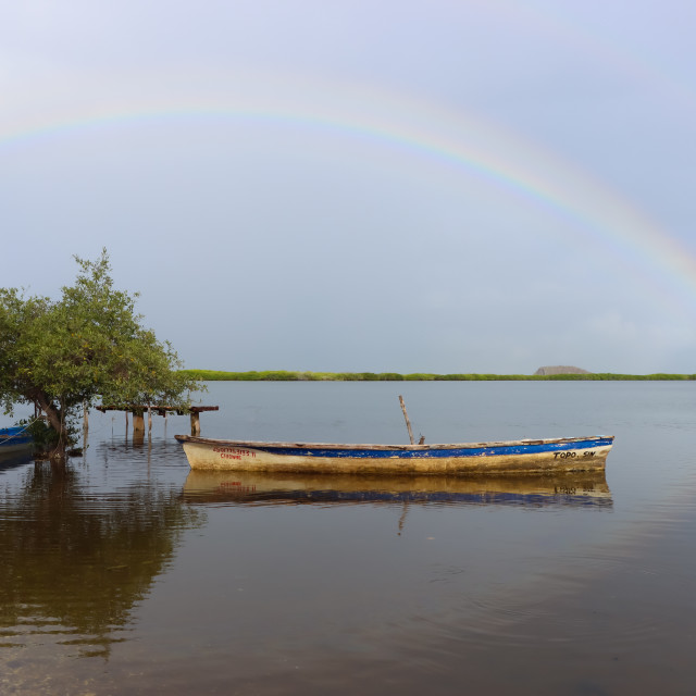 """""""Morning with a Rainbow in my Fishing Town"""" stock image"""