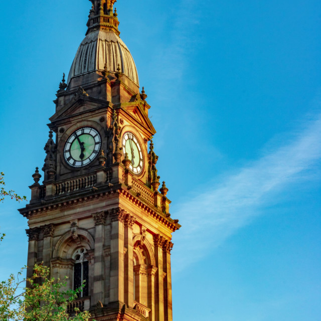 """Bolton Town Hall Clock Tower In The Morning Summer Light - Bolton, UK"" stock image"