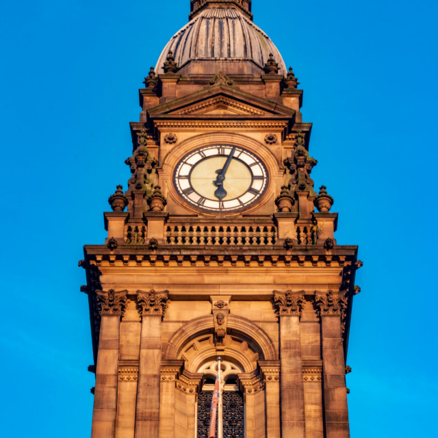 """Bolton Town Hall Clock Tower With Clear Skies - Bolton, UK"" stock image"