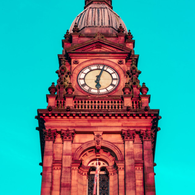 """Bolton Town Hall Clock Tower With Artistic Filter - Bolton, UK"" stock image"