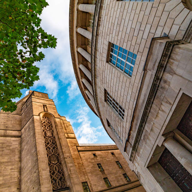"""Looking Up At Manchester Central Library In The Morning Light With Greenery - Manchester, UK"" stock image"