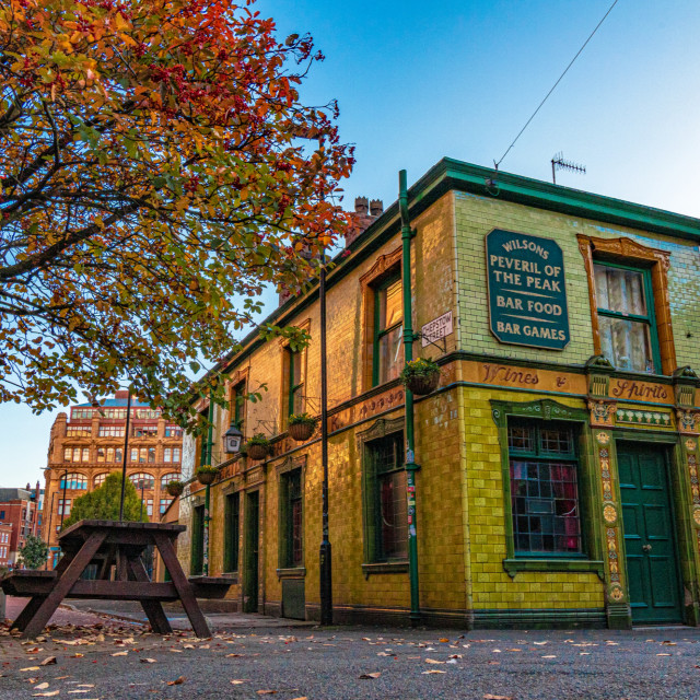 """A Traditional Pub With Autumn Leaves - Manchester City Centre, UK"" stock image"
