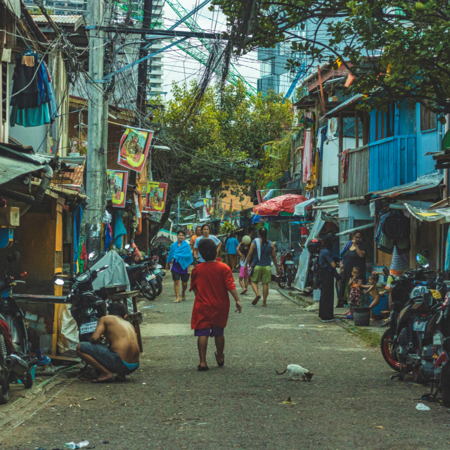 """A Run-Down Street Showing The Disparity of Income - Cebu City The Philippines, Asia"" stock image"