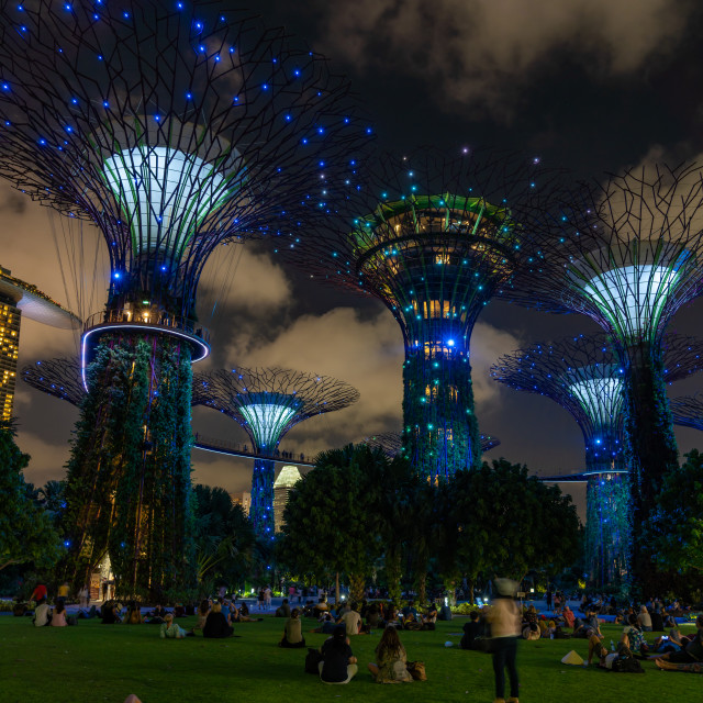 """""""Marina Bay Sands at night the largest hotel in Asia."""" stock image"""