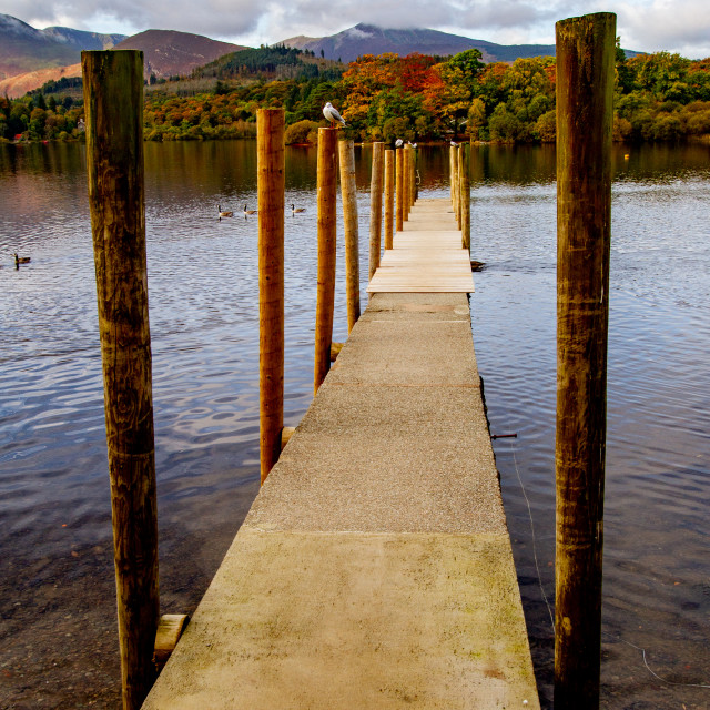 """""""'Derwentwater Jetty' The Lake District, Cumbria, England."""" stock image"""