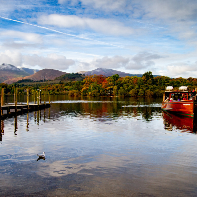 """""""'Derwentwater Jetties' The Lake District, Cumbria, England."""" stock image"""