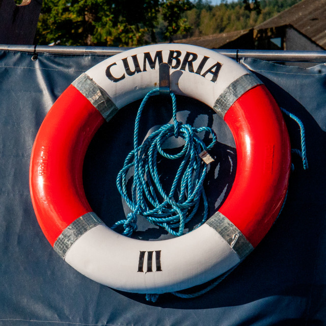 """""""Lifebuoy Ring attached to Windermere Launch 'Miss Cumbria 111'"""" stock image"""