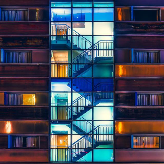 """""""Travel Lodge Hotel by night, Cambridge UK."""" stock image"""
