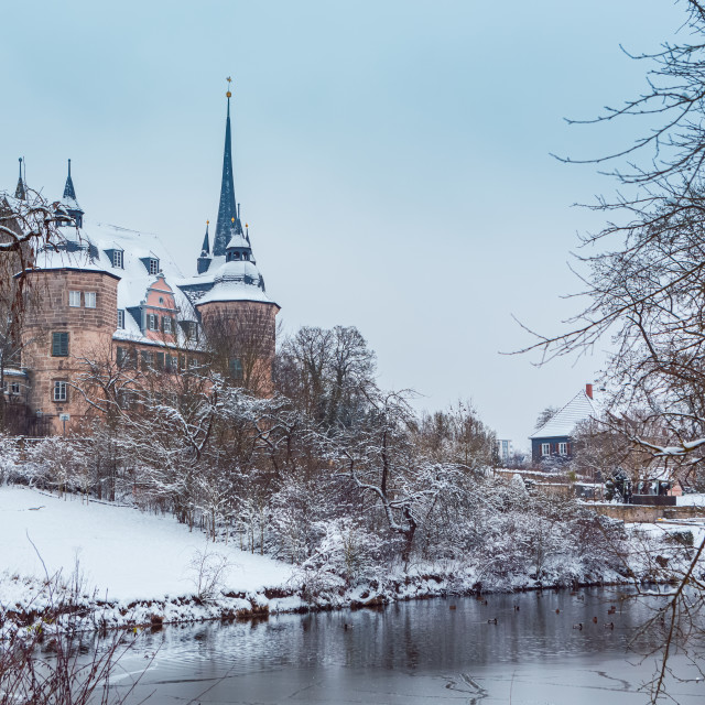"""Ahorn castle in snow"" stock image"