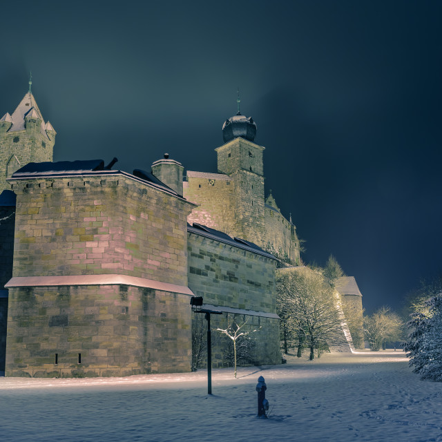 """Veste fortress at night"" stock image"