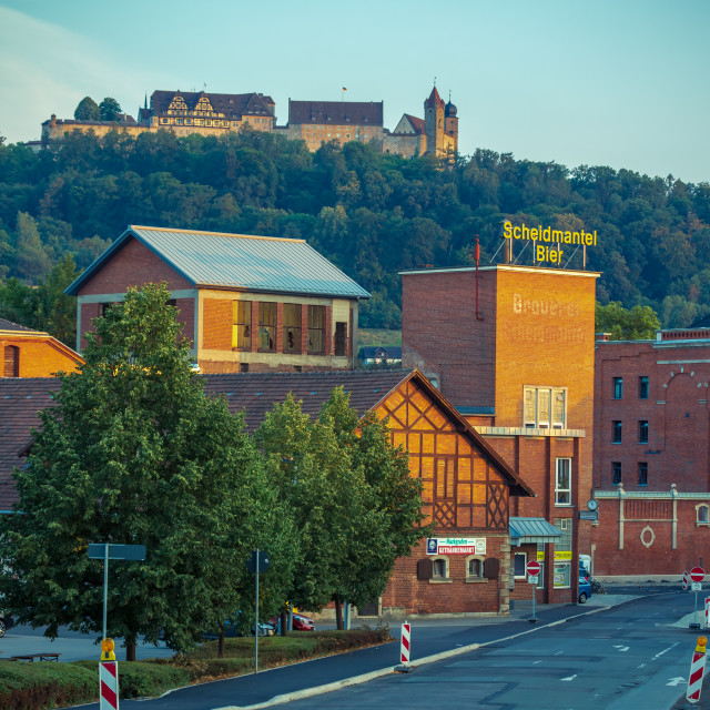"""Old brewery in front of fortress Veste"" stock image"