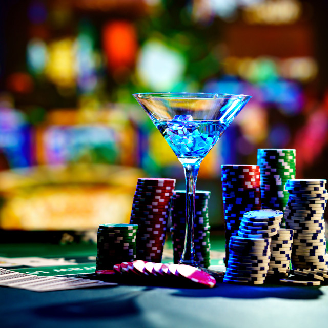 """""""cocktail glass on the casino gambling table"""" stock image"""