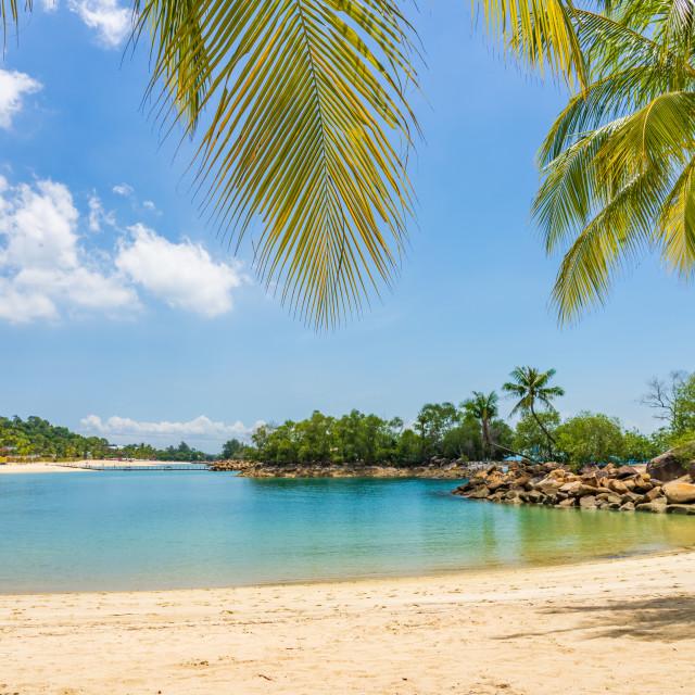 """The Siloso beach in Santosa"" stock image"