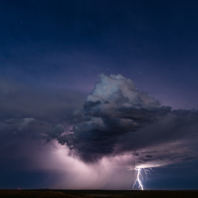 """Distant storm with lightning"" stock image"