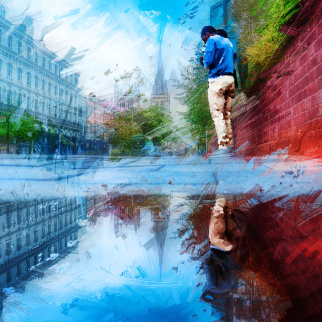 """""""Hills Road Reflections in Watercolour, Cambridge UK."""" stock image"""