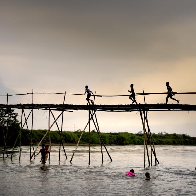 """Rural children on a bamboo bridge"" stock image"
