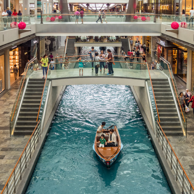 """Shopping centre canal - Singapore"" stock image"