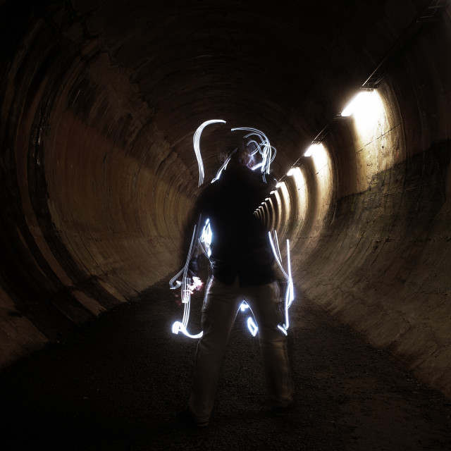 """""""Bringing Light (A Tunnel)"""" stock image"""