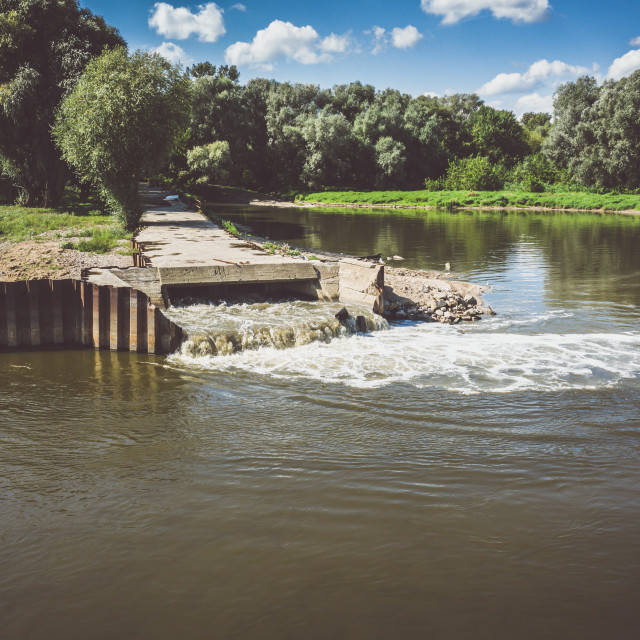 """""""Discharge of sewage into the river, ecological disaster after failure of the sewage treatment plant, Warsaw, Poland"""" stock image"""
