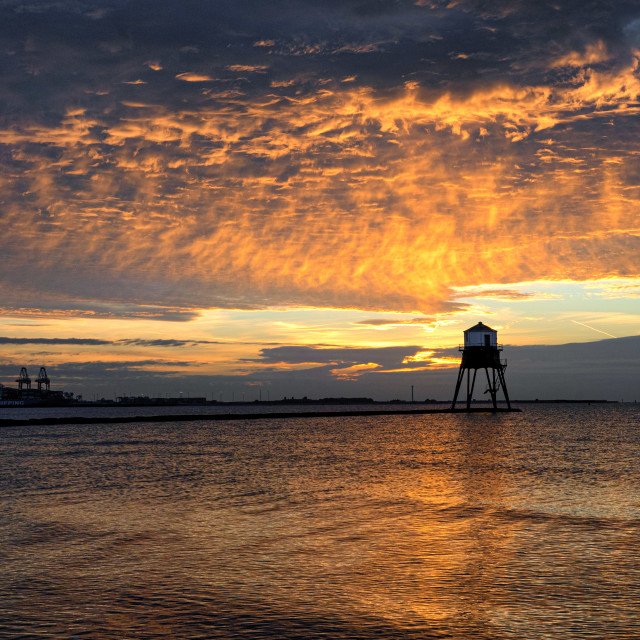 """Fire Sky Over Dovercourt Low Lighthouse"" stock image"