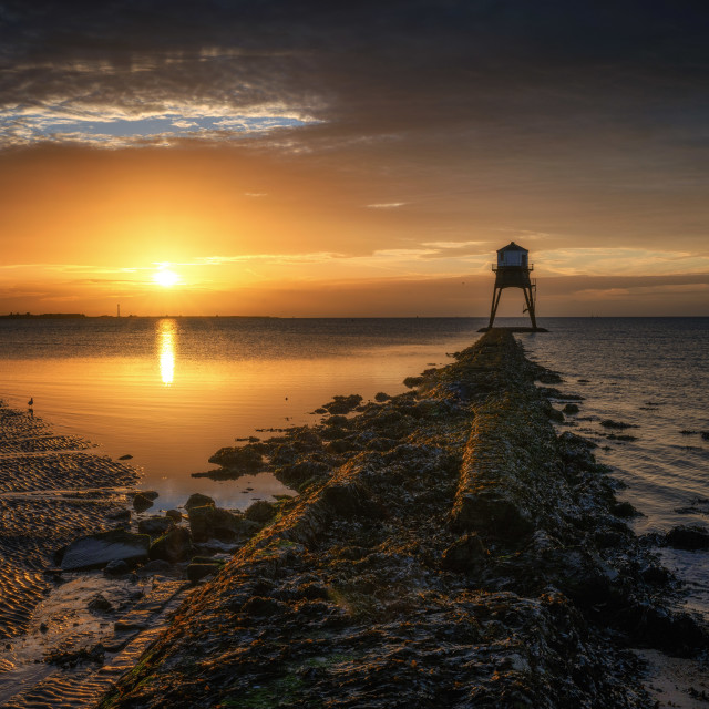 """Sunrise at the Dovercourt Low Lighthouse"" stock image"