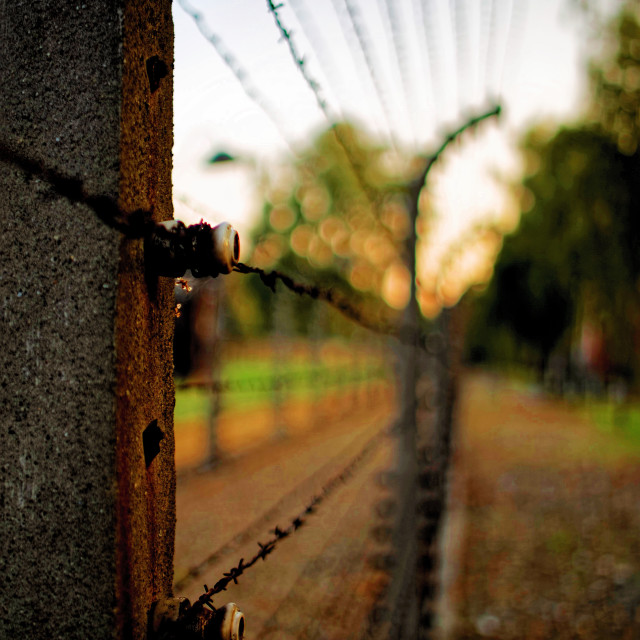 """A photo from Auschwitz-Birkenau reminds us the reality and the terror of human sin"" stock image"