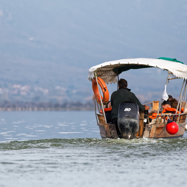 """A short trip with a boat in lake Kerkini in Greece"" stock image"