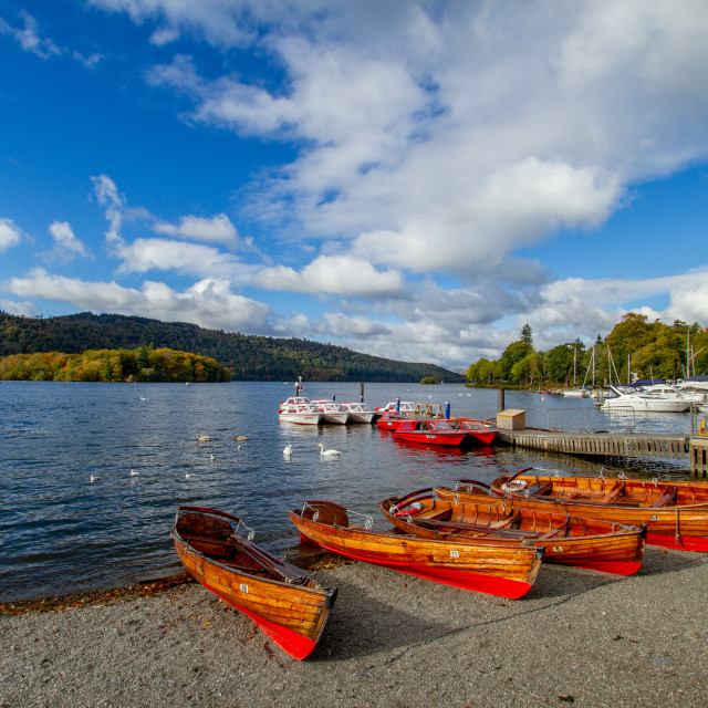 """""""Clinker Built Rowing Boats for Hire on Foreshore, Ambleside, Lake Windermere, Cumbria,"""" stock image"""
