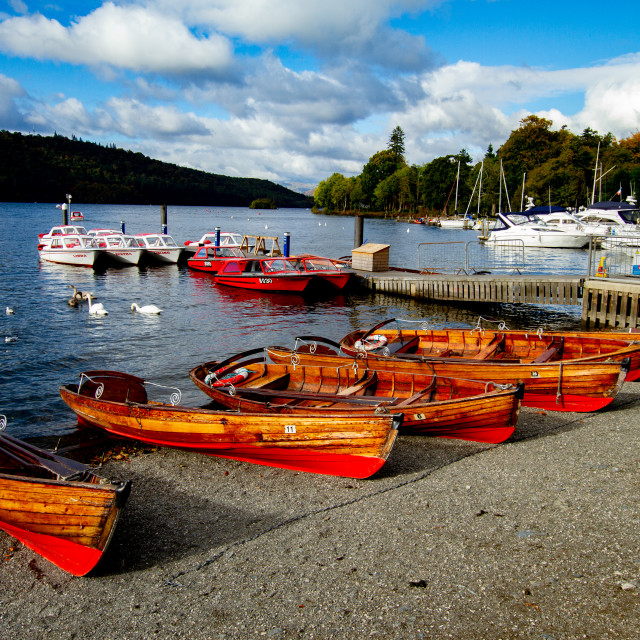 """""""Clinker Built Rowing Boats for Hire on Foreshore, The Lake District, Ambleside, Lake Windermere, Cumbria"""" stock image"""