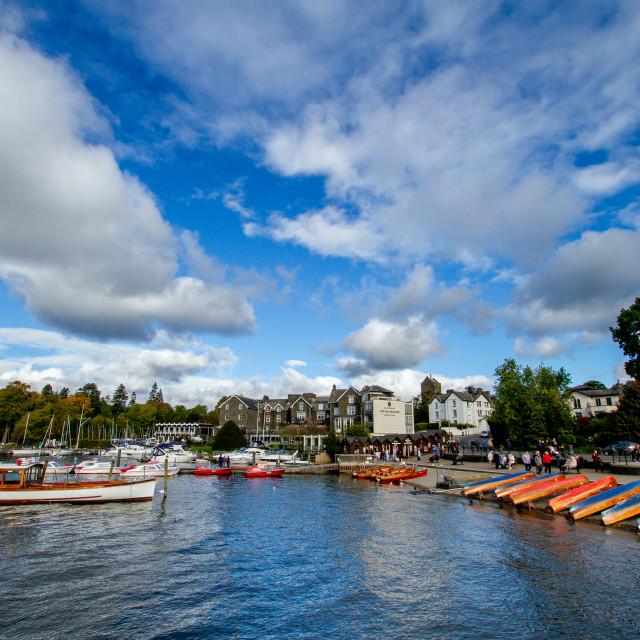 """""""Windermere Boat Cruiser 8309 and Rowing Boats."""" stock image"""