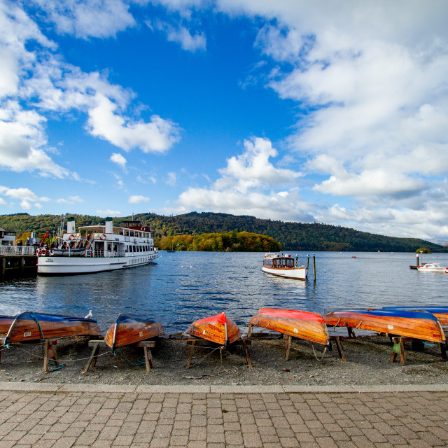 """""""Clinker Built Rowing Boats for Hire on Foreshore, The Lake District, Ambleside, Lake Windermere, Cumbria,"""" stock image"""