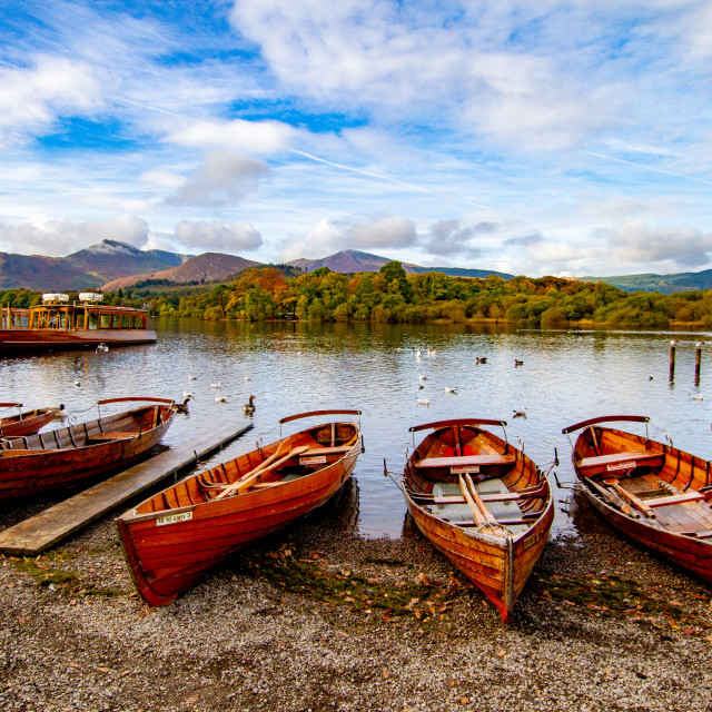 """""""Clinker Built Rowing Boats for Hire on Foreshore, Derwentwater, Keswick Landings."""" stock image"""