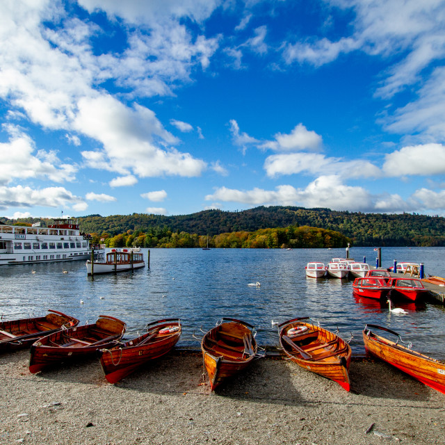 """""""Clinker Built Rowing Boats for Hire on Foreshore, Ambleside, Lake Windermere."""" stock image"""