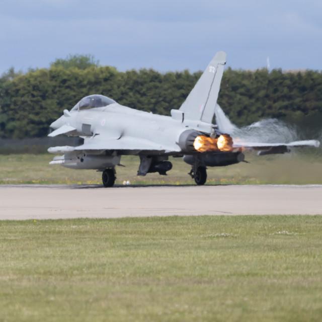 """""""Eurofighter Typhoon taking off."""" stock image"""