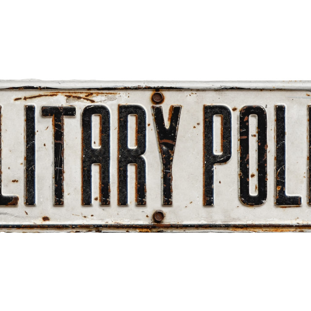 """Isolated Sign For Military Police"" stock image"