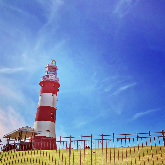 """""""Plymouth Hoe Lighthouse Contrast"""" stock image"""
