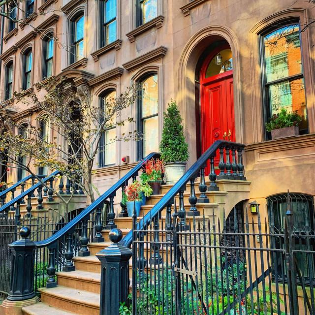 """""""New York Brownstone Red Door"""" stock image"""
