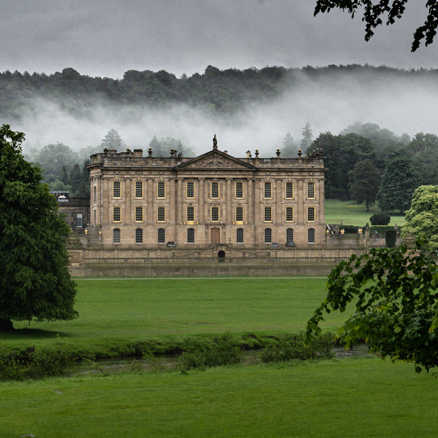 """My World - Chatsworth House, Derbyshire at Dawn"" stock image"