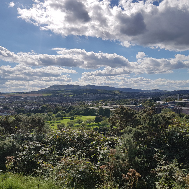 """Pentland Hills from Arthur's Seat"" stock image"