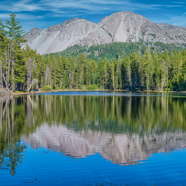 """""""Chaos Craggs from Reflection Lake"""" stock image"""