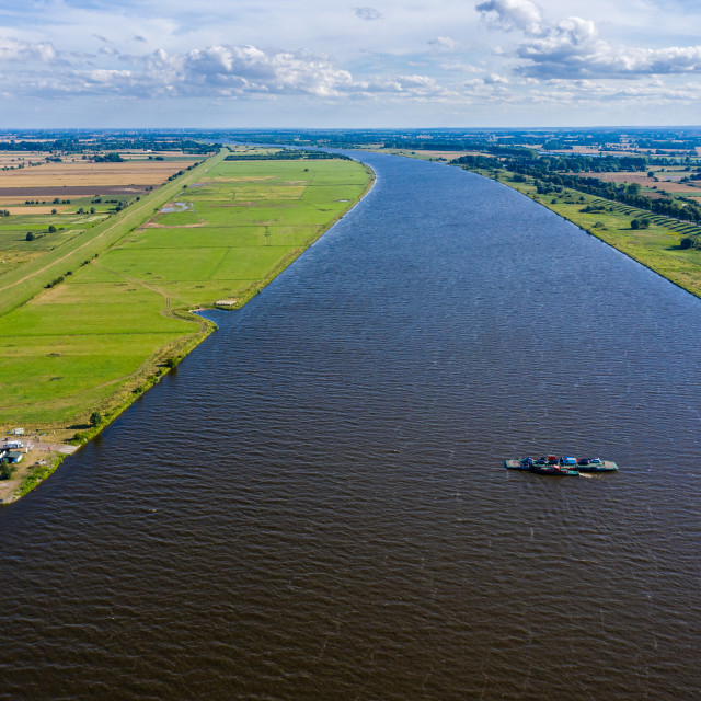 """""""Aerial view of the ferry on the Vistula river near its mouth to the Baltic sea"""" stock image"""