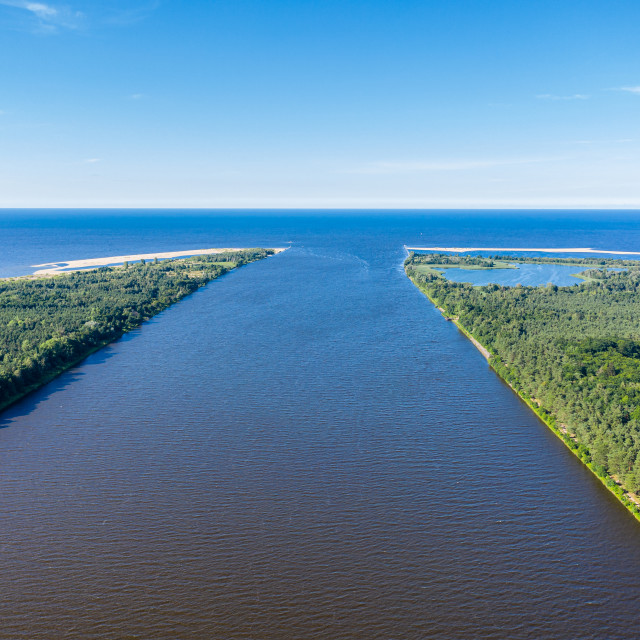 """""""Aerial view of the Vistula river mouth to the Baltic sea"""" stock image"""