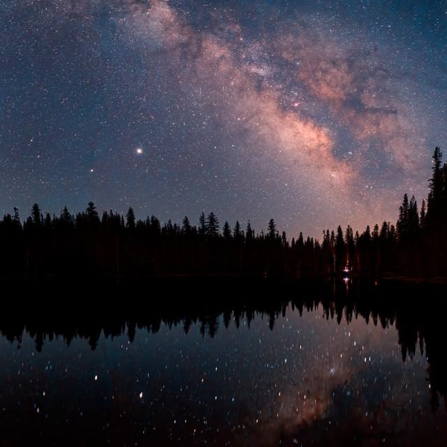 """Milky Way Reflected, Summit Lake"" stock image"