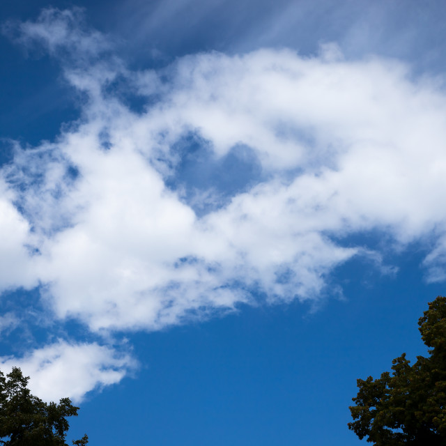 """""""blue heart in white cloud"""" stock image"""