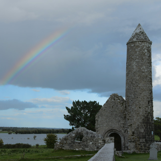 """""""Rainbow on the River Shannon, Clonmacnoise"""" stock image"""