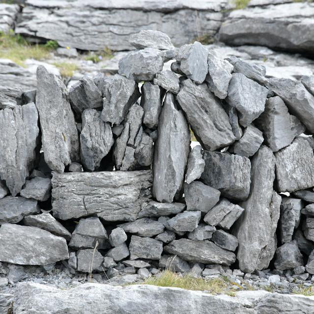 """The Burren Limestone walls"" stock image"