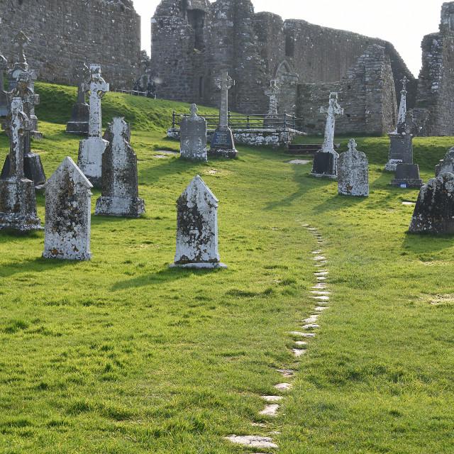 """Clonmacnoise monastic site. Pilgrams walk"" stock image"