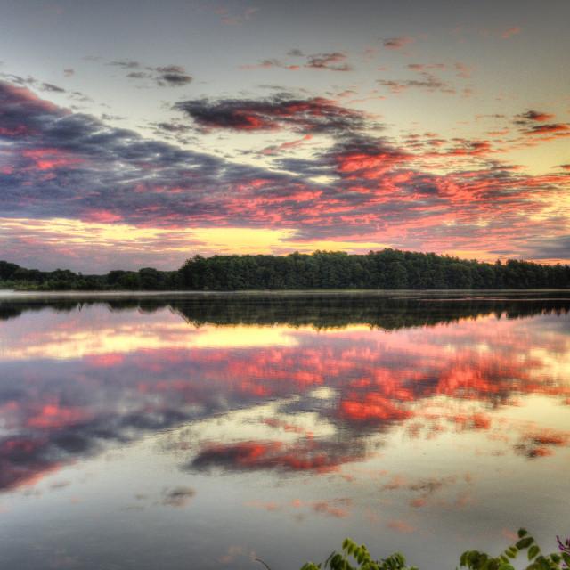 """""""Lakeville Sunrise at Assawompset"""" stock image"""